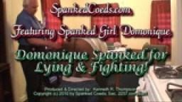 Dominique Spanked for Lying & Fighting