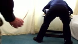 12 Strokes of the Cane Over Uniform Trousers