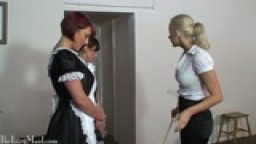 Naughty Maids Get Caned Hard On The Bottom