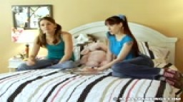 Teen girl strapped with friend watching