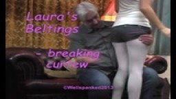 Laura's Beltings - breaking curfew - from Wellspanked