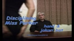 Disciplining Miss Parker - otk spanking & jokari bat - from Wellspanked