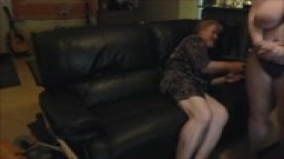 Pretty Blonde Girl Gets Spanked on the Couch for Driving Drunk