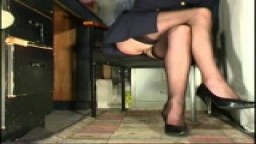 Stockings upskirt of office girl