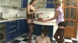 Tasty mistresses eating fruit