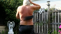 Whipping in the back yard – leather whips