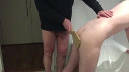 Mattie meets Mr Paddle in the Bathroom