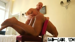 Daddy spanks his buff bf for spending too long on sunbed