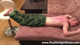 Bastinado for Russian Sodier Sanechek 19 y.o. - Rus Straight Guys Spanking
