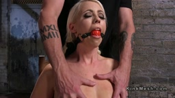 Hogtied blonde anal and pussy rammed