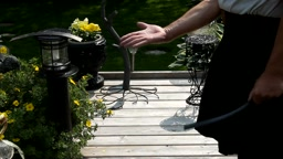 strapping the hands by the pond - closer lens