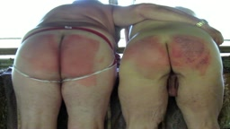 Spanked with brother in barn for lying to Dad