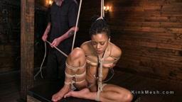Brunetal bondage and cane for ebony slave