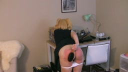 Schoolgirl Uniform Hard Self Spanking w Lily Starr - Hand, Hairbrush, Crop, Cane, & Leather Tawse Over White Panties Til