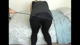 Chubby housewife in leggings takes a caning