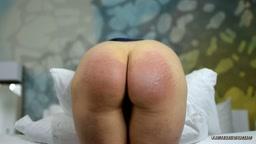 Bent Over For Painful Belt Licks