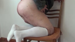 In the kitchen- showing my caned bottom