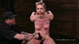 Gagged hogtied slave pussy vibed