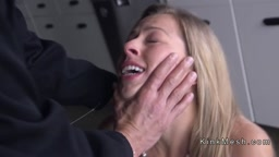 Tied up ankles and wrists blonde gets fucked
