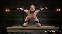 Petite brunette slave beauty in device bondage