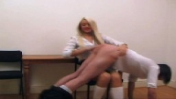 Head Girl Spanks Johnson Again! from Wellspanked